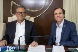 Dep. Hermano Morais, presidente da Frente Parlamentar em Defesa do Comércio e Afrânio Miranda, secretário da Frente e presidente da FCDL/RN.